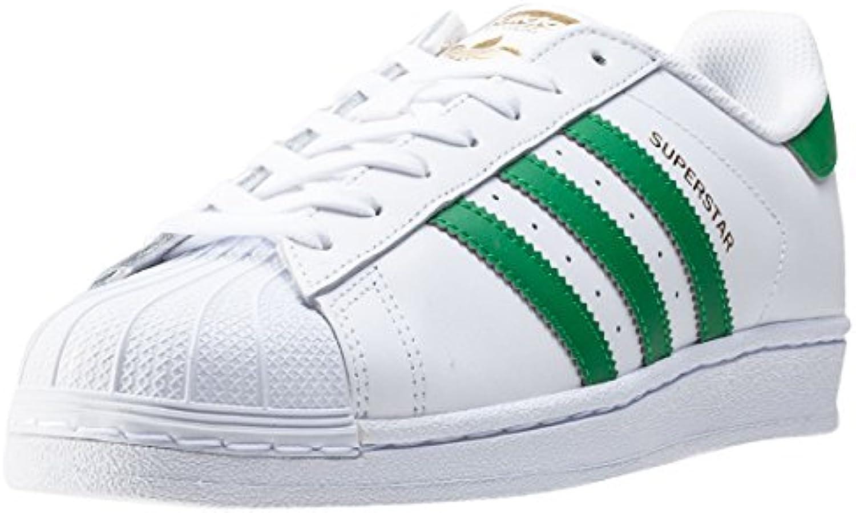 adidas Superstar Herren-Sneaker, Weiß(Ftwbla/Grün/Dormet), Größe 40 2/3 -