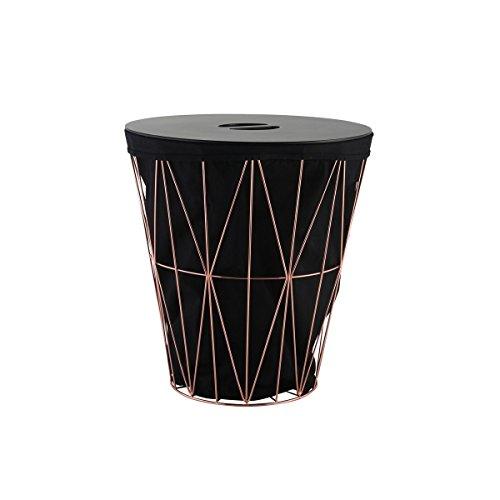 axentia Wäschekorb Design Wäschesammler mit Deckel-Wäschesack Stoff & Kupfer-Wäschebox für Schmutzwäsche-Wäschetonne Groß und Rund-Wäschebehälter 50l, Metall, Schwarz/kupferfarben, 40 x 40 x 43.5 cm