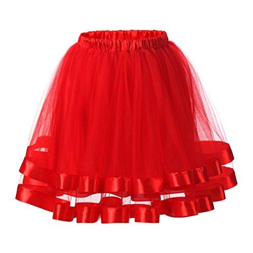 Ellames Damen 1950er Jahre Vintage Tutu Petticoat Rock Prom Abend Gelegenheit Zubehör Rot (Rock 60 N Roll Kostüme)