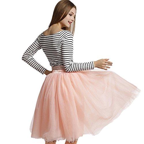 Upgrow Rock Tutu Tuturock Tütü Petticoat Tüllrock 7 Schichten Gummizug für Karneval, Party und Hochzeit (Pink) -