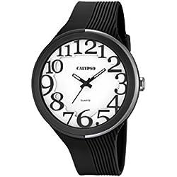 Calypso Damen Quarzuhr mit weißem Zifferblatt Analog-Anzeige und Kunststoff Gurt schwarz k5706/4