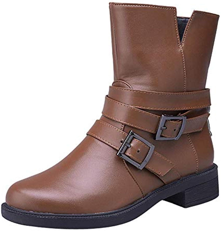 Oudan Martin Bottes Bottes Martin Chaussures Femme Bottes Plates à la  Cheville Boucle Chaussures en Cuir Bottines Bottes de... 7a97ae 7c2fc18f8d66
