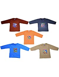 5 New Full Sleeve Cotton Tshirts for Baby Boys and Girls