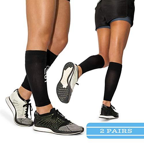 Modetro Sports Wadenbandage | Waden Kompressionsstrümpfe zur Leistungssteigerung und Abhilfe Bei Schienbeinkantensyndrom, Durchblutungsstörungen und Krämpfen (2 Paar)