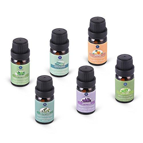 LAGUNAMOON™ Aceites Esenciales,  Top 6 Set de Regalo de Aceites de Aromaterapia de Lavanda,  Eucalipto,  Hierba de Limón,  Menta,  Arból de Té y Naranja,  Aceites Esenciales para Humidificadores,  100% Puros