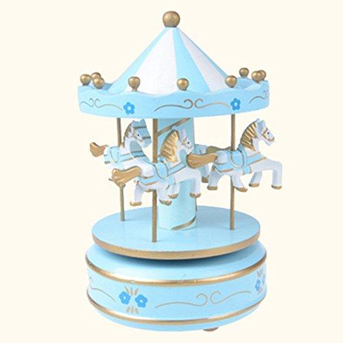 Hisuper Merry Go Round Musical carrusel caballo de madera carrusel caja de música juego de niño de juguete Decoración de Navidad regalo de cumpleaños de la boda - Sky Blue