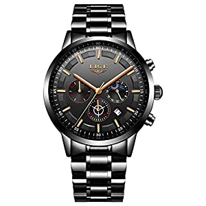 Luxury Fashion Mens Watches Black Stainless Steel Band Sport Chronograph Date Calendar Waterproof Multifunction Analogue Quartz Watch
