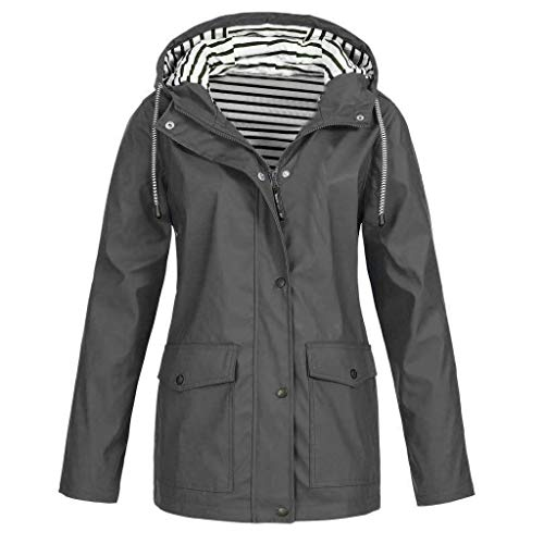 iHENGH Damen Mantel bequem Solide Regenjacke Outdoor Jacken Wasserdicht mit Kapuze Regenmantel Winddicht Parka Coat