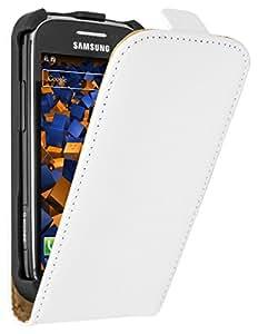 mumbi PREMIUM Cuir véritable Flip Samsung Galaxy Ace 2 - Housse Coque Etui à clapet Protecteur Étui Blanc / Crème