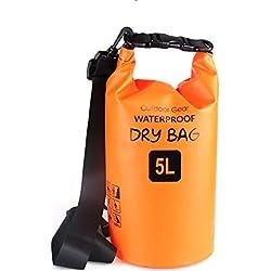 ZhaoCo Sac étanche, 5L/10L/20L/30L Sac Sec PVC Dry Bag Sack avec Sangle Réglable pour Kayak, Bateau, Canoeing, Pêche, Camping, Piscine, Rafting, Snowboard Plein Air Sports Aquatiques (Orange,5L)