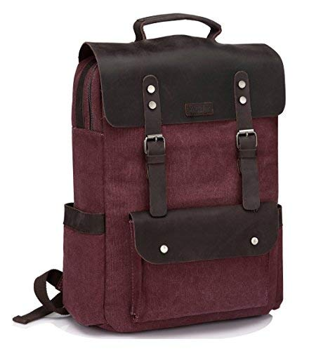 Vintage Rucksack, VASCHY Leder Leinwand 15 Zoll Laptop Rucksack Business Schulrucksack für Hochschule Studenten Burgund