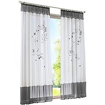 BAILEY JO 1Pièce Rideau Voilage Transparent avec Broderie Fleur Décoration  de Fenêtre Chambre Salle de 41015dd9f9ea