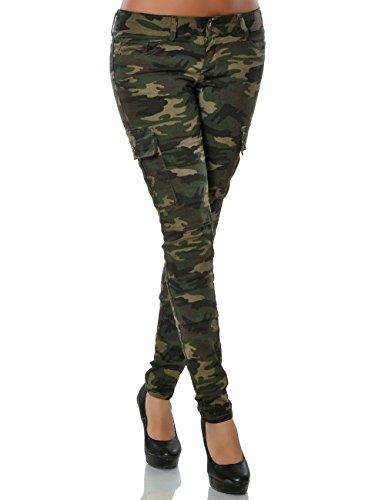 Damen Camouflage Hose Skinny Röhre No 15804, Farbe:Mehrfarbig, Größe:S / 36