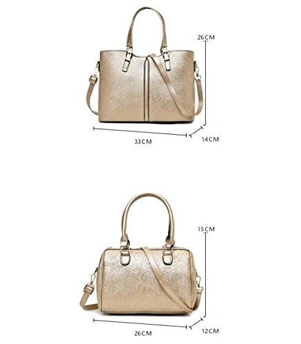 Damen 6-teilige Mutter Handtasche Handtasche Umhängetasche Diagonal Paket Tasche Brieftasche Karte Tasche Nieten Kleine Quadratische Tasche Wölbung Grey