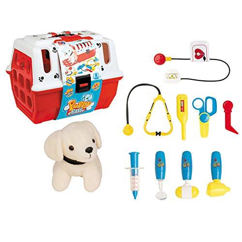 0Miaxudh Vorgeben, Spielzeug zu Spielen, Kinder Buntes Tierarzt Spiel Pretend Set mit Plüsch Hund, Pflege Zubehör Spielzeug (Ausgestopften Hund Spielzeug Die)
