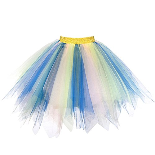 Honeystore Women's Short Vintage Ballet Bubble Puffy Tutu Petticoat Skirt Royal Blue Pink Light Green