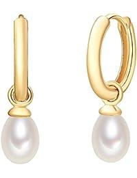 Valero Pearls - Aros con cierre embellecidos con Perlas de agua dulce - 925 Plata esterlina (chapada en oro amarillo) - Pearl Jewellery, Pendientes, Pendientes de Plata esterlina - 60925015