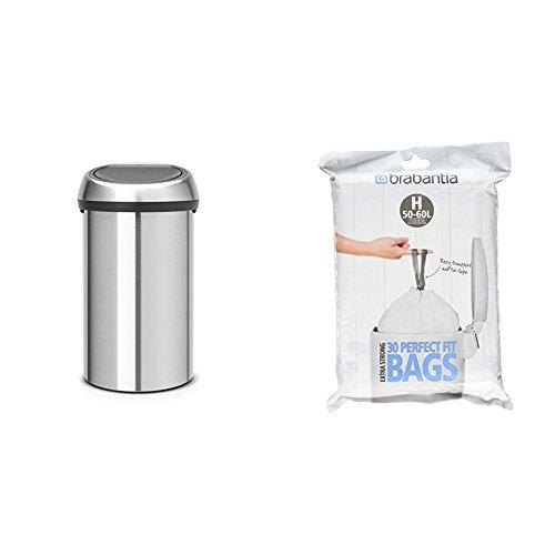 Brabantia Large Kitchen Touch Bin, 60 Litre - Matt Steel +  Bin Liner H, 50-60 L - 30 Bags Brabantia 50 L Bin Liner
