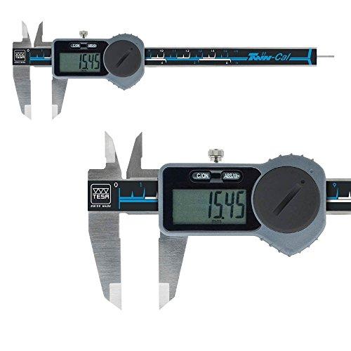 Digital Messschieber TESA 150 mm TWIN-CAL IP40 00530094 mit rundem Tiefenmaß Datenausgang: Ja, Mit Antriebsrad Aktionspreis gültig bis 31.12.2017, Gewicht: 0.16