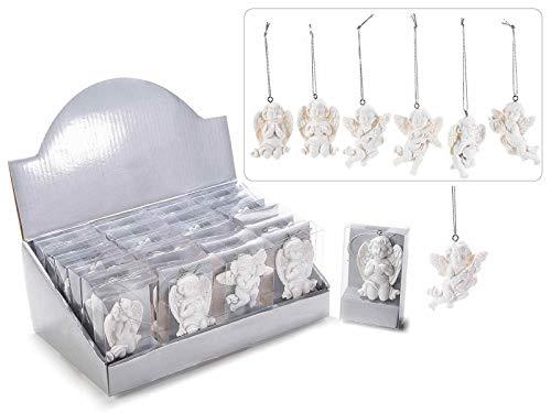 24 angelo in resina bianca da appendere in conf. pvc ed espo