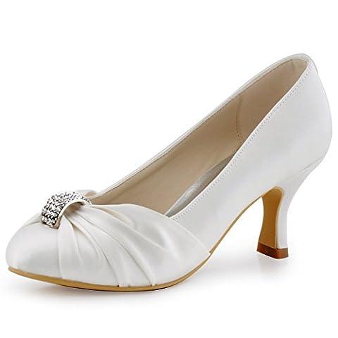 ElegantPark HC1526 Women's Pumps Satin Rhinestones Closed Toe Mid Heel Wedding Party Dress Court Shoes Ivory UK