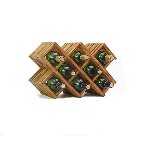 Etagère à bouteille Étagères en bois de support de vin d'ornements de vin étagères en bois debout libre sur la table, coffret à vin de style européen créatif à la maison pour le salon - tient 2/5/8 bo