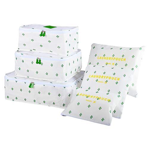 Organizer per Valigie Cubo di Viaggio, EASEHOME Impermeabile Borse di Stoccaggio Organizzatore Sacchi Dei Bagagli per Vestiti Scarpe 3 Cubi di Imballaggio + 3 Sacchetto, Cactus