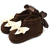 Magic Needles Autumn Winter Woolen Handmade Turkish Yarn Hand Knit Crochet Baby Ankle Boots (0-3 mths Toe to Heel 10 cms, 1036 Baby Girls Dark Brown)