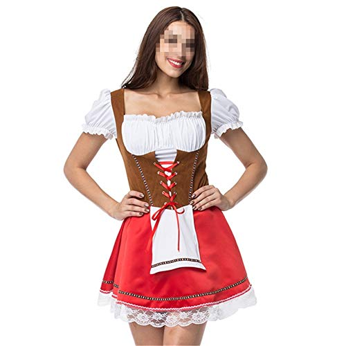 FMN-SEXY, Sexy Sweet Gothic Kleid Französisch Maid Kostüm Bier Kellnerin Cosplay Mädchen Wench Maid Schürze Kostüm Billiger Halloween Kostüme (Color : Red, Size : One - Billig Maid Kostüm