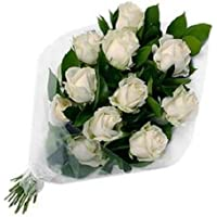 Floral Fantasy Gift of Fresh Flower Bouquet Indoor Plant (White, Bunch of 10 Roses)