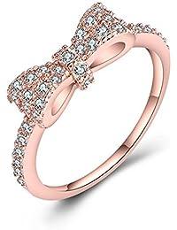 e7e301142542 SODIAL Anillo de Lazo Precioso con Color de Oro Rosa Anillo romantico de  Zircon Completo embutido