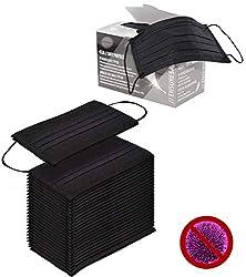 50x Mundschutz 3lg. mit elastischen Gummibänder, OP Gesichtsmasken, Mundschutzmasken glasfaserfrei latexfrei (schwarz),