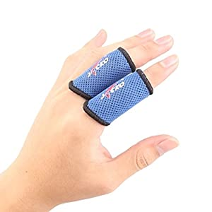 Set of 2 Elastic Finger Sleeve Protector Brace Support for Sports - Blue