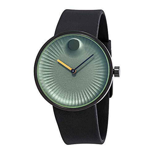 Movado Men' s 40 mm Black silicone Band Steel case zaffiro cristallo verde quadrante analogico orologio al quarzo 3680041