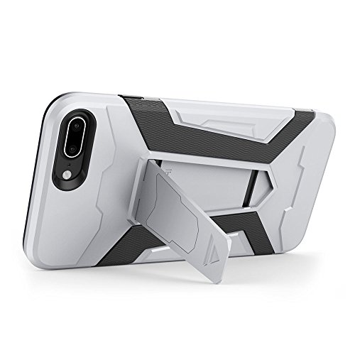 Cover iPhone 7 plus Custodia iPhone 7 plus Hard Anfire Belt Clip Holster Kickstand Case Cover per iPhone 7 plus (5.5 Pollici) Ultra Sottile Liscio Opaco Antiurto Protettivo Bumper Paraurti Rugged Adat Silver