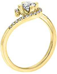 GIA Certified, Round Cut, Solitaire Diamond Ring in 14K Gold / Yellow (1/2 ct, K Color, VVS2 Clarity)