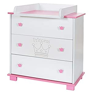 Baby Changing Chest Princess - Nursery Furniture Changer Unit With 3 Drawers - Baby Changing Table removeable