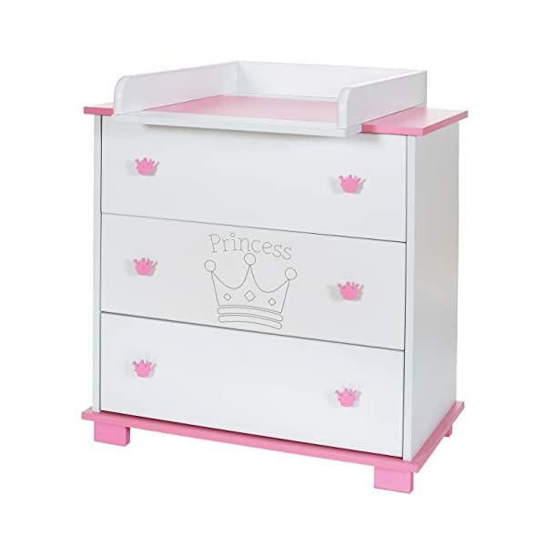 Baby Changing Chest Princess - Nursery Furniture Changer Unit With 3 Drawers - Baby Changing Table removeable LCP Kids® Princess wooden chest of drewers baby changing table Cute wood engraving of the crown application in the front of middle drawer 3 big sized drawers and a removable changing table unit and height of 95 cm 1