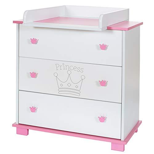 Baby Wickel-Kommode mit abnehmbaren Wickelauflage Aufsatz und 3 grossen Schubladen: weiß-rosa (Weiß Baby-möbel)