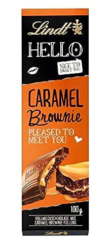 Lindt & Sprüngli Hello, Caramel Brownie Tafel, 4er Pack (4 x 100 g) (Karamel Schokolade Brownie)
