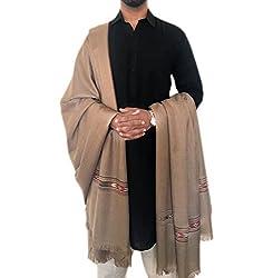 Pashtush Woven Kullu Design Mens Shawl, Australian Merino Wool, Warm, Soft Traditional design Himachal Handicrafts. Full Size 54 x108 inches (Dark Pashmina)
