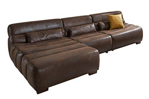 Cavadore Polsterecke Scoutano in Antiklederoptik mit Longchair links / Sofa L-Form mit XXL Longchair im Industrial Design / Größe: 268 x 76 x 170 cm...