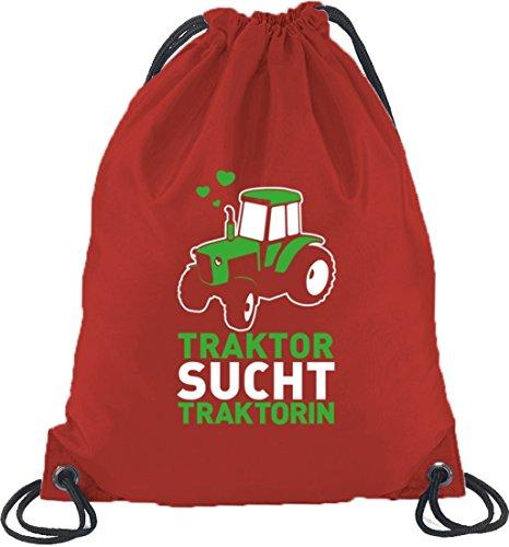 Lustiger Turnbeutel Rucksack Sport Beutel Traktor sucht Traktorin Rot