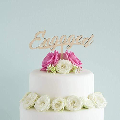 Engaged cursive script cake topper. Engagement hen party cake decoration. Vegan friendly