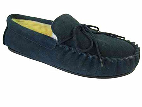 Lodgemok 001 Uomo Pelle Scamosciata Lana Foderato Pantofole Mocassino Blu (blu)