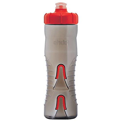 Fabric Trinkflasche Halterlos Wasserflasche 750ml Flaschenhalter Cageless Bottle Fahrrad, FA-BOT-0003, Farbe Rot - Grau