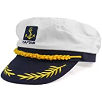 Moda Blanco Sombrero de Marinero Capitán Gorra de Algodón ... c068026c846