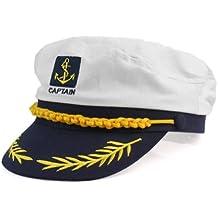 Moda Blanco Sombrero de Marinero Capitán Gorra de Algodón ... 8859b4f80b3