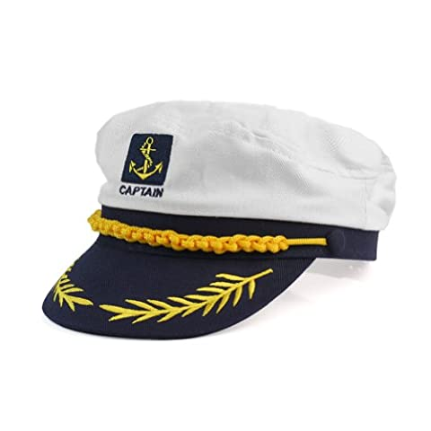 Cotton Yacht Kipper Sailor Ship Boat Marine Captain Hat Cap Fancy Dress Adjustable White