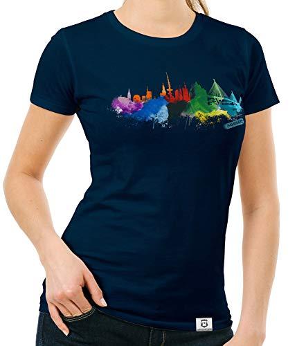 Shirtdepartment - Damen T-Shirt - Hamburg Aquarell dunkelblau-bunt XXL